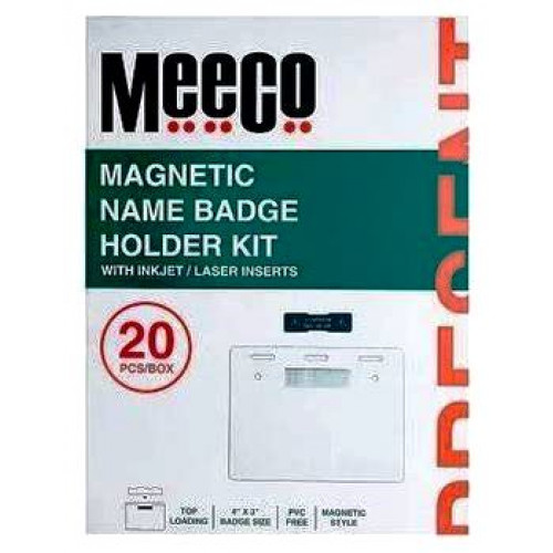 MEECO Magnetic Name Badge Holder Kit - Pack of 20