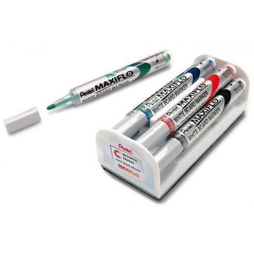 PENTEL Maxiflo Whiteboard Magnetic Duster and Marker Set