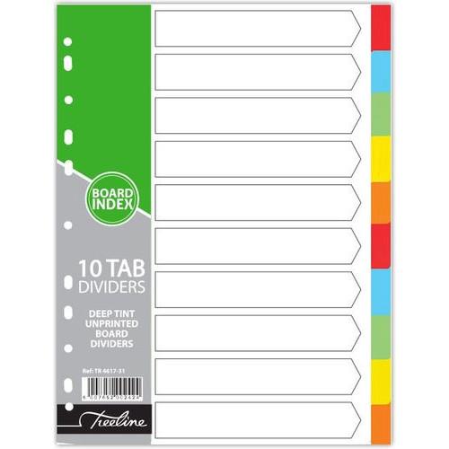 TREELINE A4 Divider Board (10 Tab) - Bright