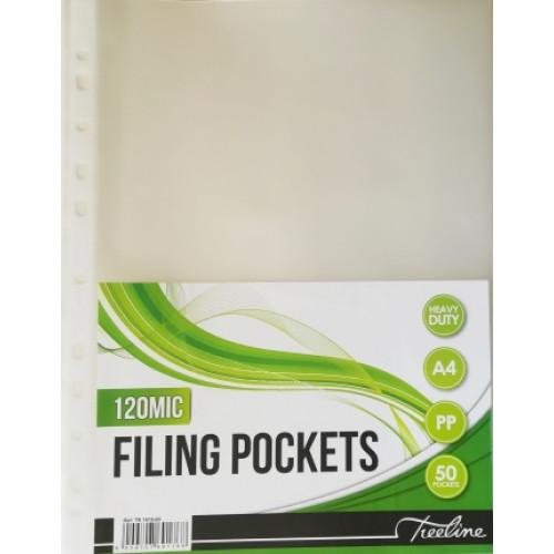 TREELINE A4 Heavy Duty Filing Pockets (120 Micron) - 50 Pack