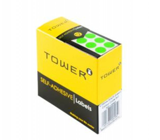 Tower Colour Code Labels Round 10mm Diameter Fluorescent Green