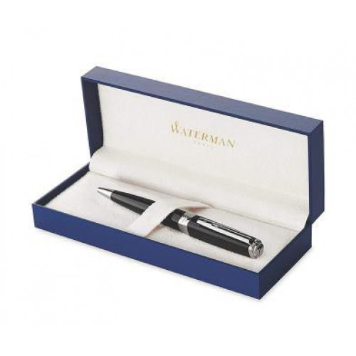 WATERMAN - Exception Slim Black Lacque Silver Trim Ballpoint Pen Medium Nib - Blue Ink