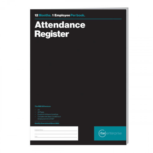RBE 12 Month Attendance Register A4