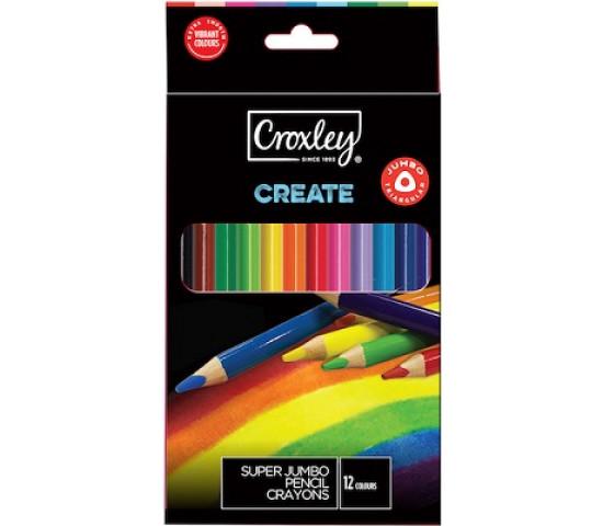 CROXLEY Super Jumbo Pencil Crayons - 12s