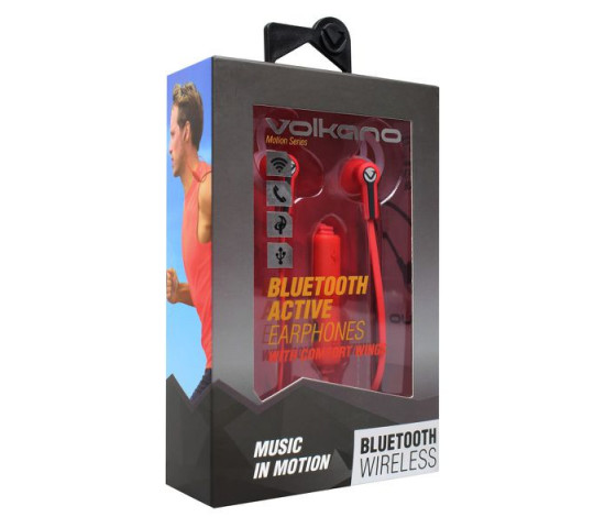 VOLKANO Motion Series Bluetooth Earphones - Red and Black