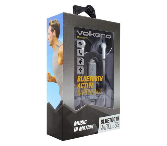 VOLKANO Motion Series Bluetooth Earphones - Grey and White