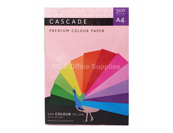 CASCADE A4 PINK Colour Paper 80gsm - Ream Of 500 Sheets