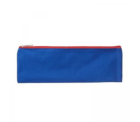 MEECO Large 33cm Nylon Pencil Bag with Zip - Blue