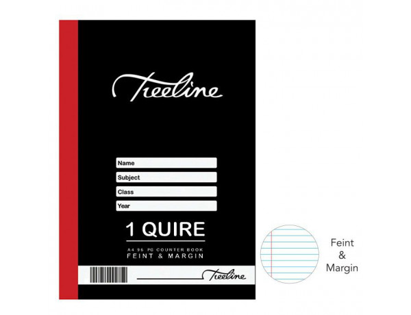 TREELINE A4 Counter Book 1 Quire Feint and Margin 96 Pages