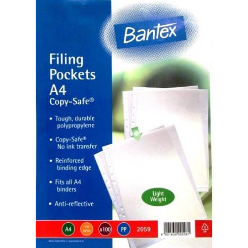 BANTEX A4 Economy Filing Pockets (45 Micron) - 100 Pack
