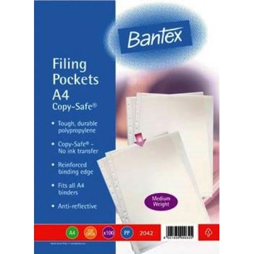 BANTEX A4 Filing Pockets (80 Micron) - 100 Pack