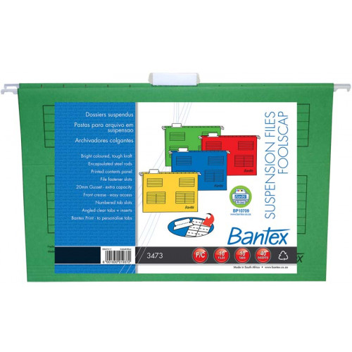 Bantex Suspension Files Foolscap Retail Pack Grass Green