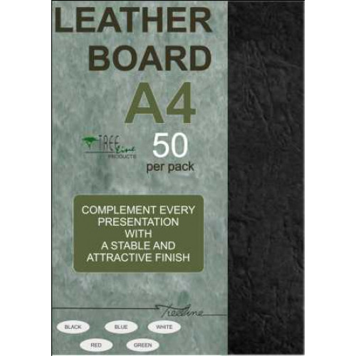 TREELINE - A4 Binding Cover Leather Grain 270gsm - BLACK