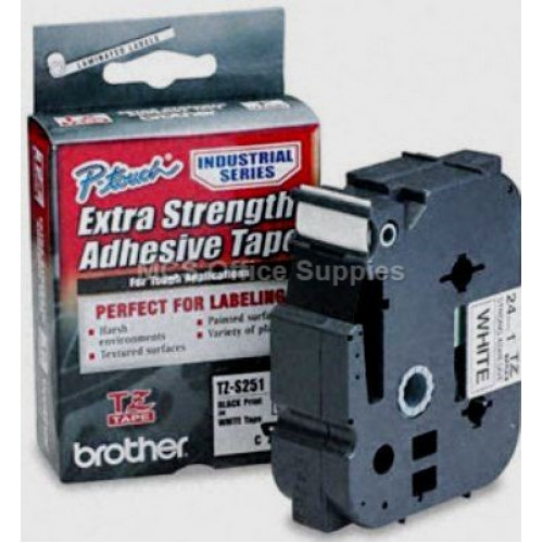 Brother TZS251 Labelling Tape 24mm Black On White Extra Strength