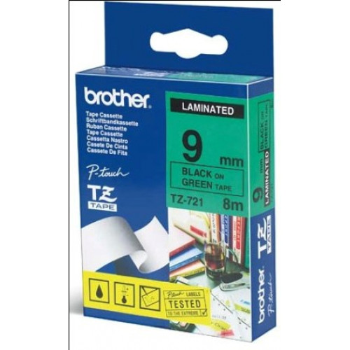 Brother TZ721 Labelling Tape 9mm Black On Green Tape