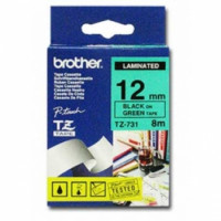Brother TZ731 Labelling Tape 12mm Black On Green Tape