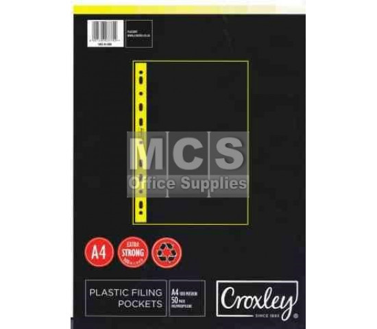 CROXLEY A4 Filing Pockets (100 Micron) - 50 Pack