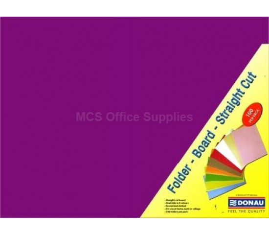 DONAU Bright Board Folders 180gsm Foolscap Purple Pack 100