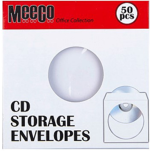 MEECO White CD Paper Sleeves 50pk