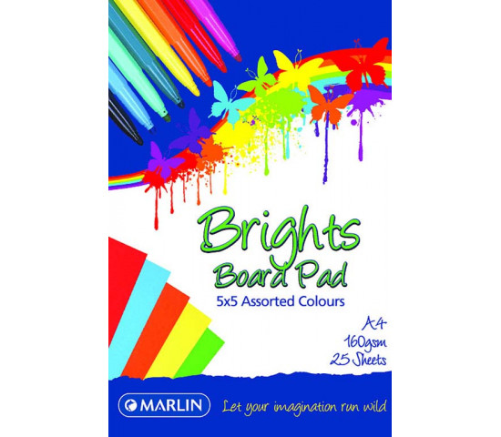MARLIN A4 Bright Assorted Board Pad 25 Sheet
