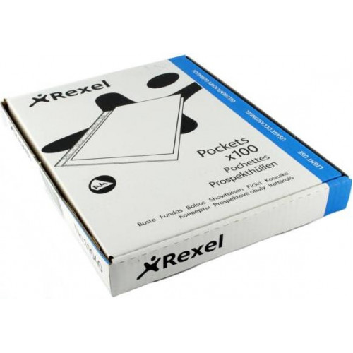 REXEL A4 Filing Pockets Reinforced (160 Micron) - 100 Pack