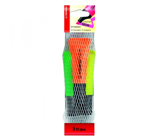 STABILO Neon Highlighter Bag 3 Assorted