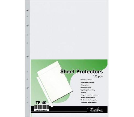 TREELINE A4 Filing Pockets (40 Micron) - 100 Pack