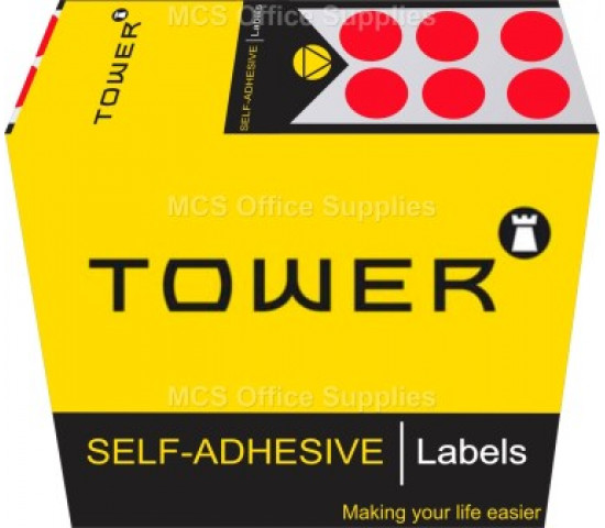 Tower Colour Code Labels Round 10mm Diameter Fluorescent Red