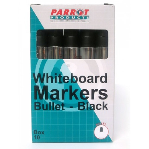 PARROT Whiteboard Markers Bullet Tip Black - 10 Pack